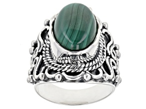 Pre-Owned Green Malachite Sterling Silver Ring