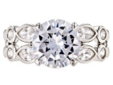 Pre-Owned White Cubic Zirconia Rhodium Over Sterling Silver Center Design Ring 6.75ctw