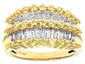 Pre-Owned Swarovski ® Yellow Zirconia & White Cubic Zirconia 18k Yellow Gold Over Sterling Silver Ri