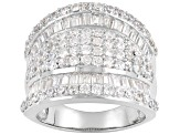 Pre-Owned White Cubic Zirconia Rhodium Over Sterling Silver Ring 5.25ctw
