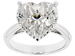 Pre-Owned White Crystal Quartz Rhodium Over Sterling Silver Ring 4.75ct