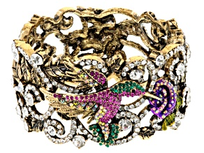 Pre-Owned Swarovski Elements ™ Antiqued Gold Tone Hummingbird Bracelet