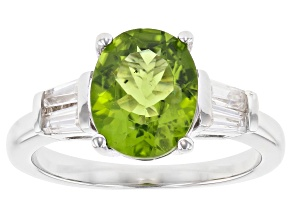 Pre-Owned Green peridot rhodium over sterling silver ring 2.80ctw