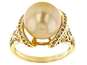 Pre-Owned 11mm Cultured Golden South Sea Pearl 0.15ctw White Topaz 18k Yellow Gold Over Sterling Sil