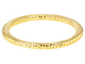Pre-Owned 18k Yellow Gold Over Bronze Textured 8 inch Bangle Bracelet