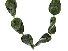 Pre-Owned Green Connemara Marble Bead Sterling Silver Necklace
