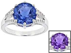 Pre-Owned Blue color change fluorite rhodium over silver ring 4.43ctw