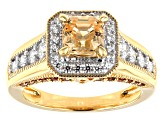 Pre-Owned Imperial Mosaic Cut Amber,Caramel,and White Zirconia From Swarovski®18k Yellow Gold Over S