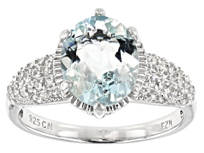 Pre-Owned Aquamarine Rhodium Over Sterling Silver Ring 2.63ctw