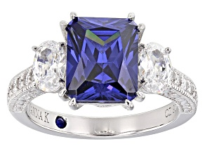 Pre-Owned Womens 3-Stone Ring Tanzanite Color, White Cubic Zirconia 6ctw Platineve