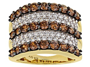 Pre-Owned Brown and White Cubic Zirconia 18k Yellow Gold Over Sterling Silver Ring 5.48ctw
