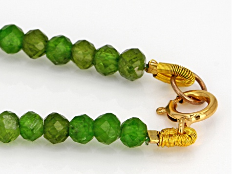 Pre-Owned Green Chrome Diopside 14k Yellow Gold Necklace Approximately 80.00ctw