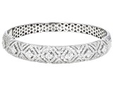 Pre-Owned White Cubic Zirconia Rhodium Over Sterling Silver Bangle Bracelet 5.85ctw