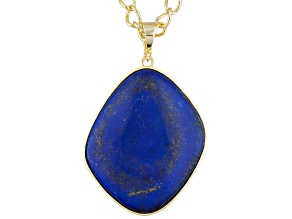 Pre-Owned Blue Lapis 18k Yellow Gold Over Bronze Enhancer With Chain
