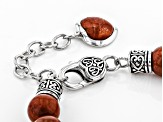 Pre-Owned Red sponge coral rhodium over sterling silver bracelet