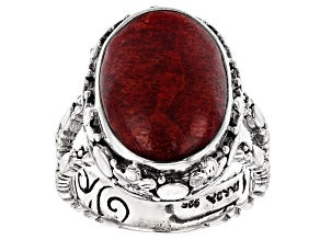 Pre-Owned Red Indonesian Sponge Coral Silver Floral Ring