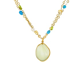Pre-Owned Sea Foam Green Drusy Quartz 18k Gold Over Silver Necklace and Enhancer
