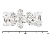Pre-Owned Cubic Zirconia Silver Flower Ring 1.18ctw (.78ctw DEW)