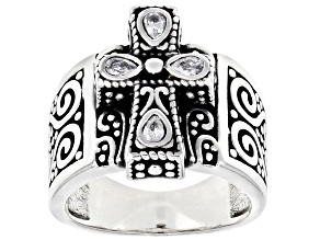 Pre-Owned White Cubic Zirconia Rhodium Over Sterling Silver Cross Ring 0.84ctw