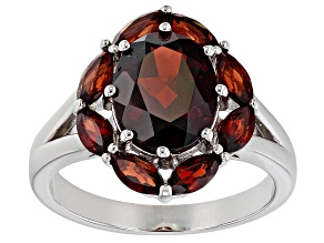 Pre-Owned Red garnet rhodium over sterling silver ring 4.34ctw