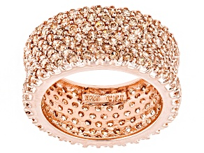 Pre-Owned Brown Cubic Zirconia 18k Rose Gold Over Silver Ring 6.92ctw (4.51ctw