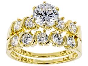 Pre-Owned White Cubic Zirconia 18K Yellow Gold Over Sterling Silver Ring With Band 3.84ctw