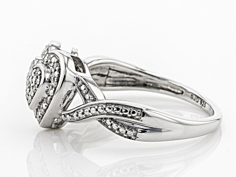 Pre-Owned White Diamond Accent Rhodium Over Sterling Silver Heart Ring