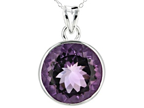 Pre-Owned Purple Amethyst Silver Pendant With Chain 20.00ct
