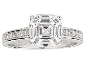 Pre-Owned Bella Luce ® 4.75ctw Asscher Cut Rhodium Over Sterling Silver Engagement Ring