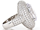 Pre-Owned White Cubic Zirconia Rhodium Over Sterling Silver Ring 14.52ctw