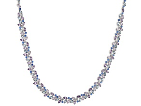Pre-Owned Lab Created Blue Spinel & Multicolor Cubic Zirconia Rhodium Over Silver Bolo Necklace 2.47