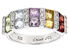 Pre-Owned Multi Stone Rhodium Over Sterling Silver Ring. 1.62ctw
