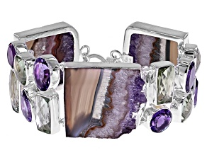 Pre-Owned Multicolor Amethyst Stalactite Silver Bracelet 50.70ctw