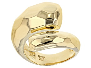 Pre-Owned 18k Yellow Gold Over Bronze Bypass Ring