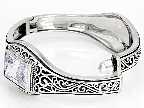 Pre-Owned White Cubic Zirconia Rhodium Over Sterling Silver Bracelet 22.97ctw