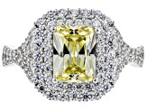 Pre-Owned Yellow And White Cubic Zirconia Rhodium Over Sterling Silver Ring 4.24ctw