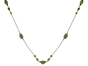 Pre-Owned Green Connemara Marble brass Necklace