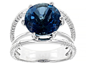 Pre-Owned London Blue Topaz Rhodium Over Sterling Silver Solitaire Ring 5ctw