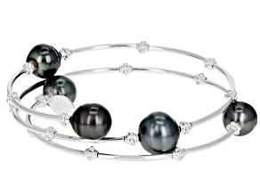Pre-Owned Black Cultured Tahitian Pearl Sterling Silver Wrap Bangle