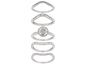 Pre-Owned White Diamond Rhodium Over Sterling Silver Set Of 5 Stackable Rings .53ctw