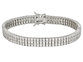 Pre-Owned White Cubic Zirconia Rhodium Over Sterling Silver Bracelet 12.06ctw