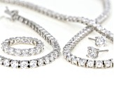 Pre-Owned White Cubic Zirconia Rhodium Over Silver Earrings, Necklace, Ring, and Bracelet Set 67.36c