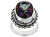 Pre-Owned Multi-color Quartz Sterling Silver Solitaire Ring