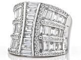 Pre-Owned White Cubic Zirconia Rhodium Over Sterling Silver Ring 6.32ctw