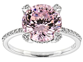 Pre-Owned Pink and White Cubic Zirconia Rhodium Over Sterling Silver Ring 7.88ctw