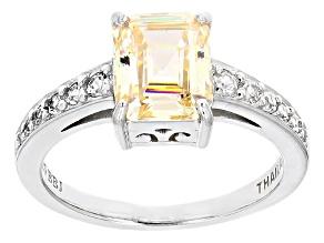 Pre-Owned White Fabulite Strontium Titanate White Zircon Sterling Silver Ring 2.66ctw