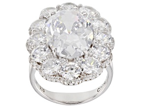 Pre-Owned White Cubic Zirconia Rhodium Over Sterling Silver Center Design Ring 15.90ctw