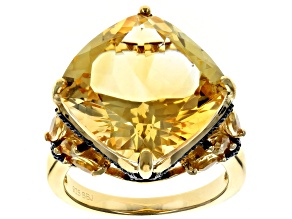 Pre-Owned Yellow citrine 18k yellow gold over silver ring 8.40ctw