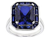 Pre-Owned Blue lab created sapphire rhodium over silver ring 7.33ctw