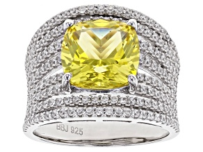 Pre-Owned Yellow Lab Created Sapphire and White Cubic Zirconia Rhodium Over Sterling Silver Ring 7.0